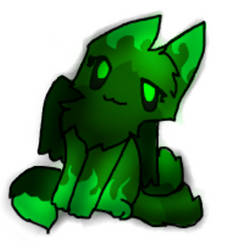 Green Evil Kitty by frogsdolphins
