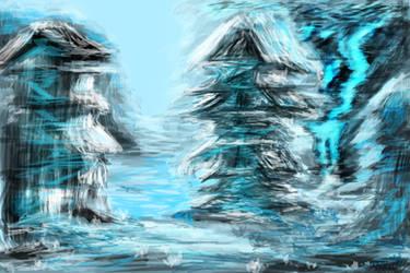 Random snowy village sketch by SXerosere