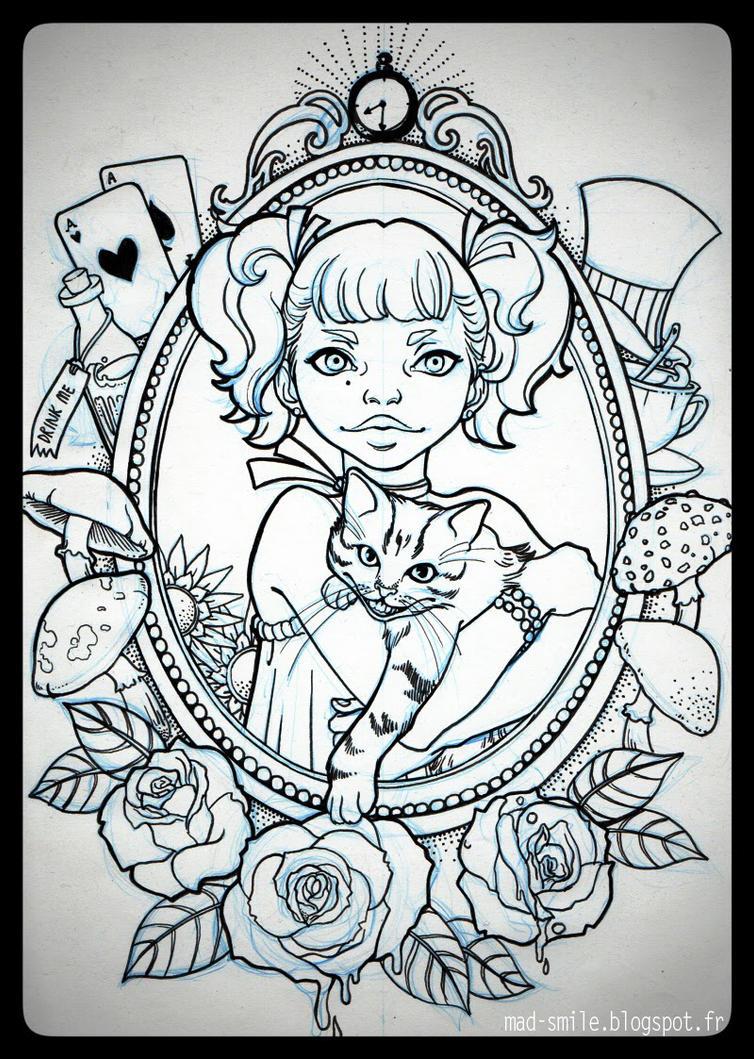 tattoo alice in wonderland light by madsmile on