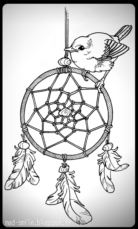 tattoo sparrow and dreamcatcher by mad smile on deviantart. Black Bedroom Furniture Sets. Home Design Ideas