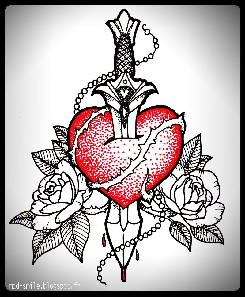 TATTOO Heart And Dagger By Mad smile On DeviantArt