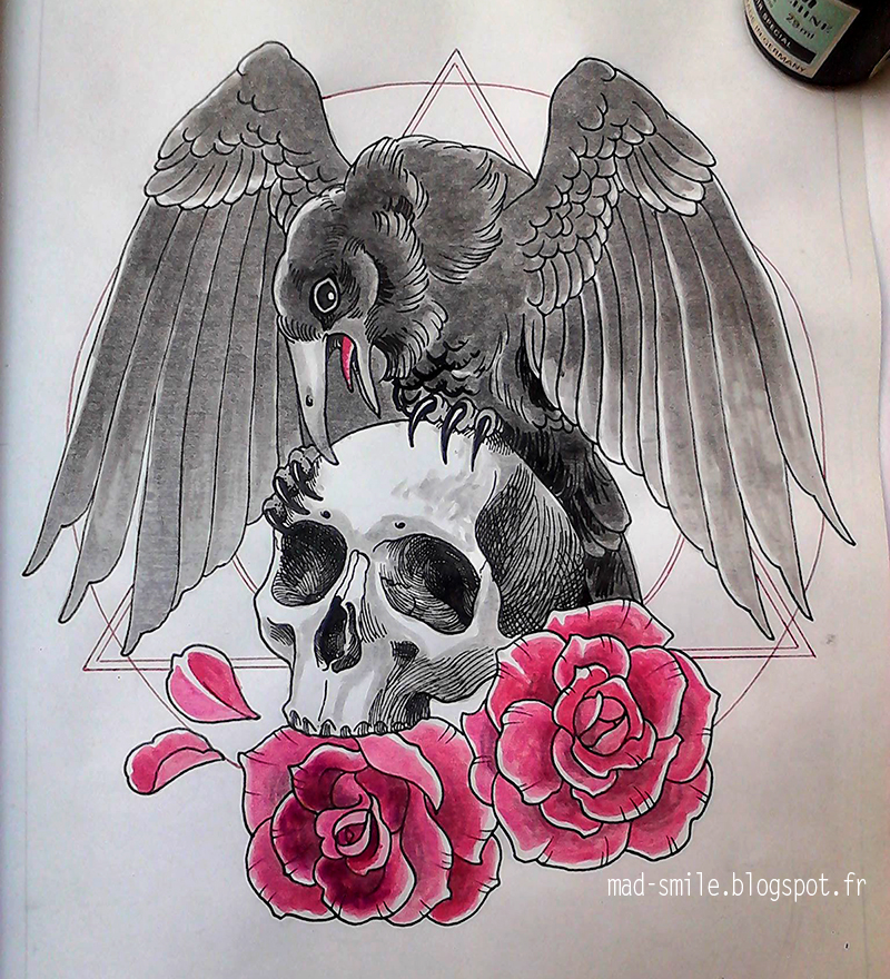 Skulls Tattoo Design Wallpaper: Skull, Crow And Roses By Mad-smile On DeviantArt