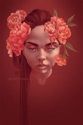 Selfportrait with Peonies by mad-smile