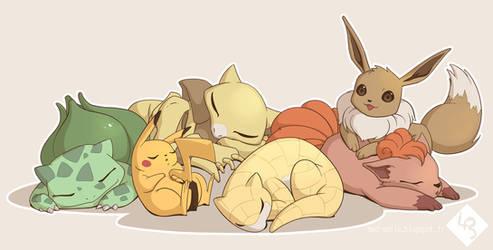 My generation #1 Team - Pokemon fanart