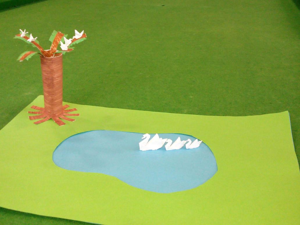 Origami Swan Lake By thehiddeni by thehiddeni