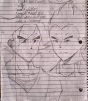 Lol drew Goku and Vegeta during class~ by ChipperFlower