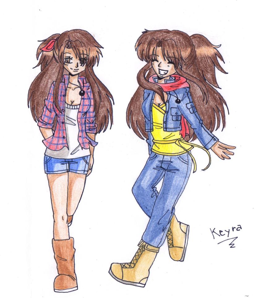 Tough anime girl with brown hair