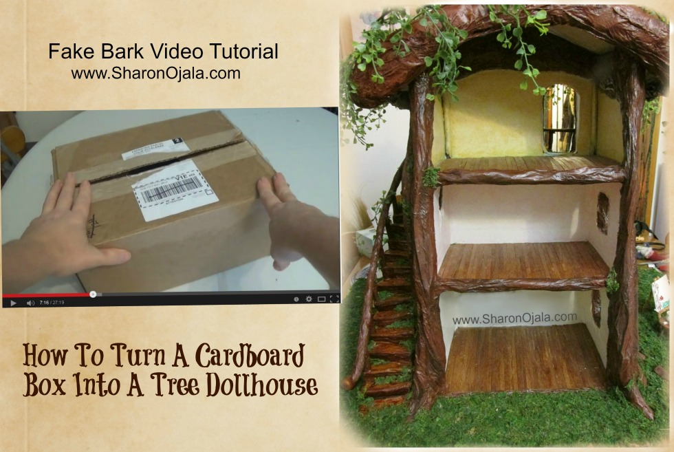 Cardboard Box To Dollhouse Fake Bark Tutorial by sojala