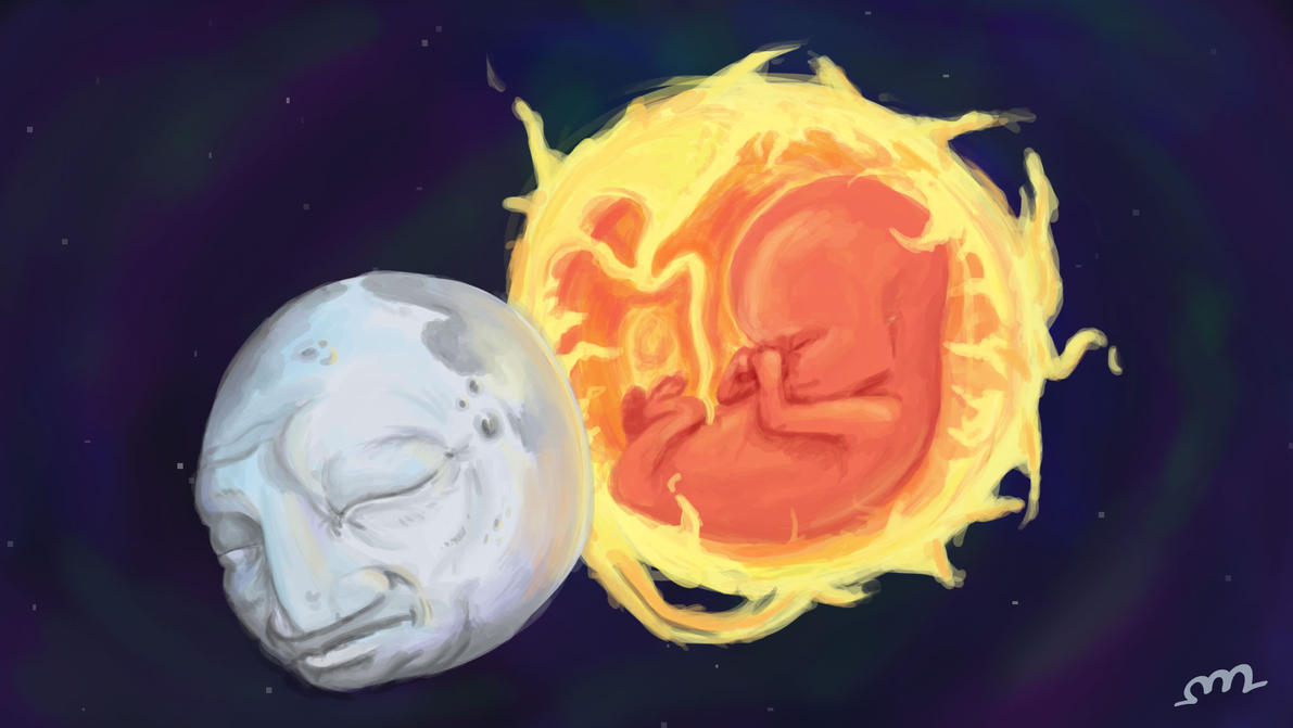 Old Man Moon and Baby Sun by protoPrimus