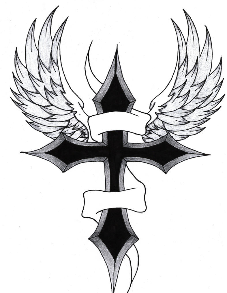 It's just a picture of Vibrant Cross With Wings Drawing