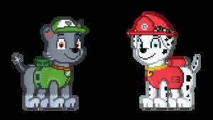 Paw Patrol - Rocky and Marshall pixel art