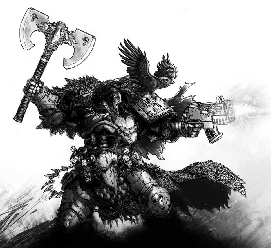 Warhammer Space Wolf by django-red