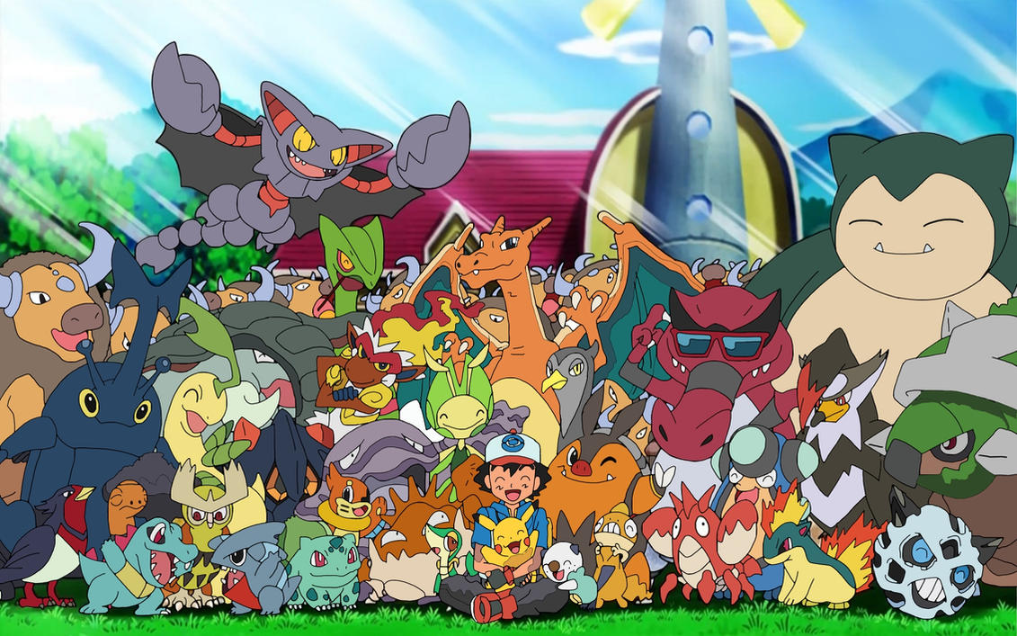 ash with his pokemon by 70jack90 on deviantart