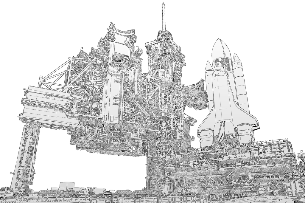 Space shuttle launch drawing