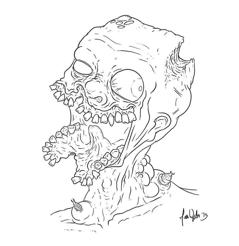 Zombie Face Line Drawing : Gross zombie lineart by zones productions on deviantart