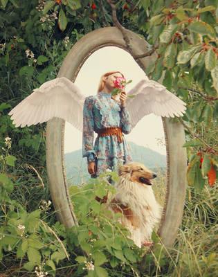 Garden angel and dog by RiavaCornelia