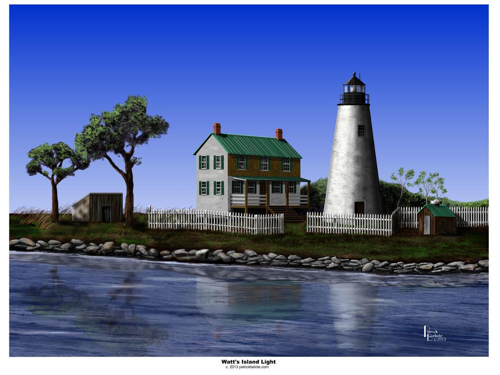 Watts Island Light By Belote Art On