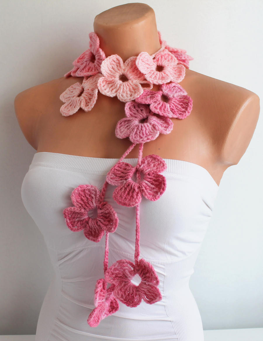Baby Pink Flower Hand Crochet Lariat Scarf by aysetugrul ...