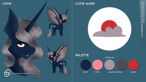 Bat alicorn OC ref sheet