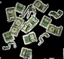flying dollar bills by teilie