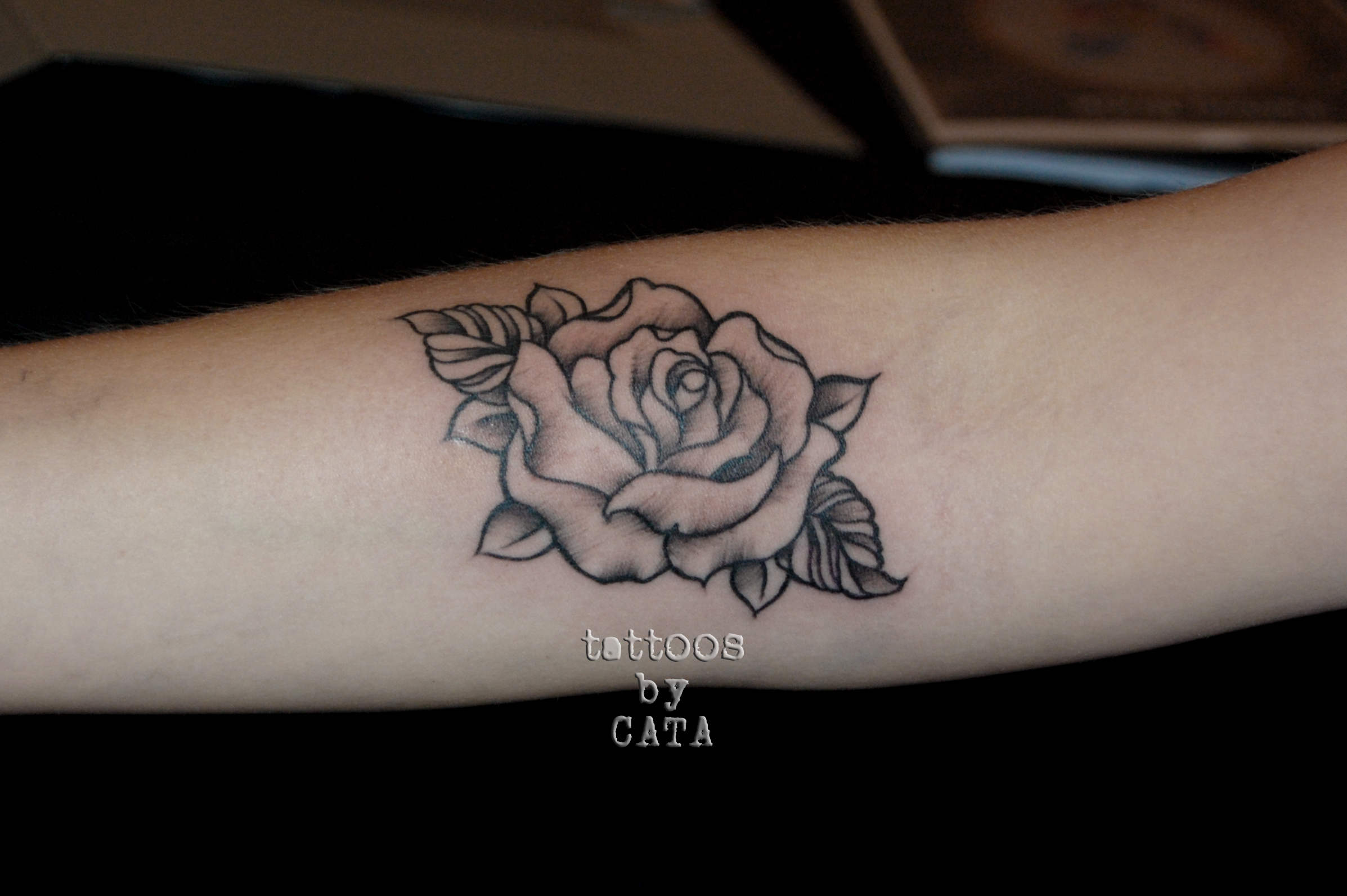 Rose tattoo black and grey by tattoosbycata on deviantart for Black and gray rose tattoos