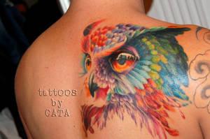 colorful owl tattoo by TattoosByCata