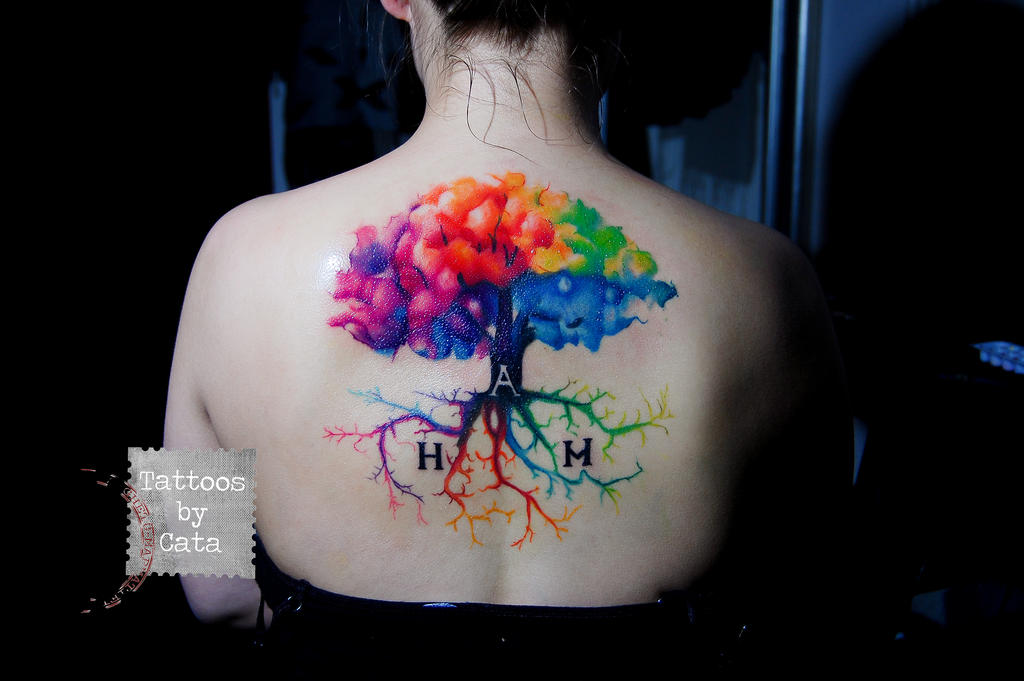 Watercolor tree tattoo by tattoosbycata on deviantart for Tree of life watercolor tattoo