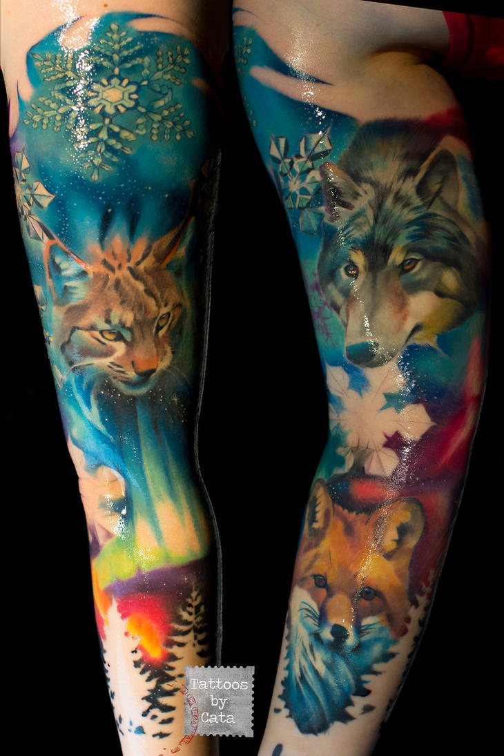 Northern lights tattoo sleeve aurora boreal by for Tattoo shops in aurora