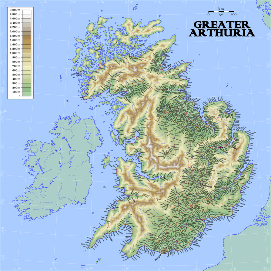 Map of Greater Arthuria by Antrodemus