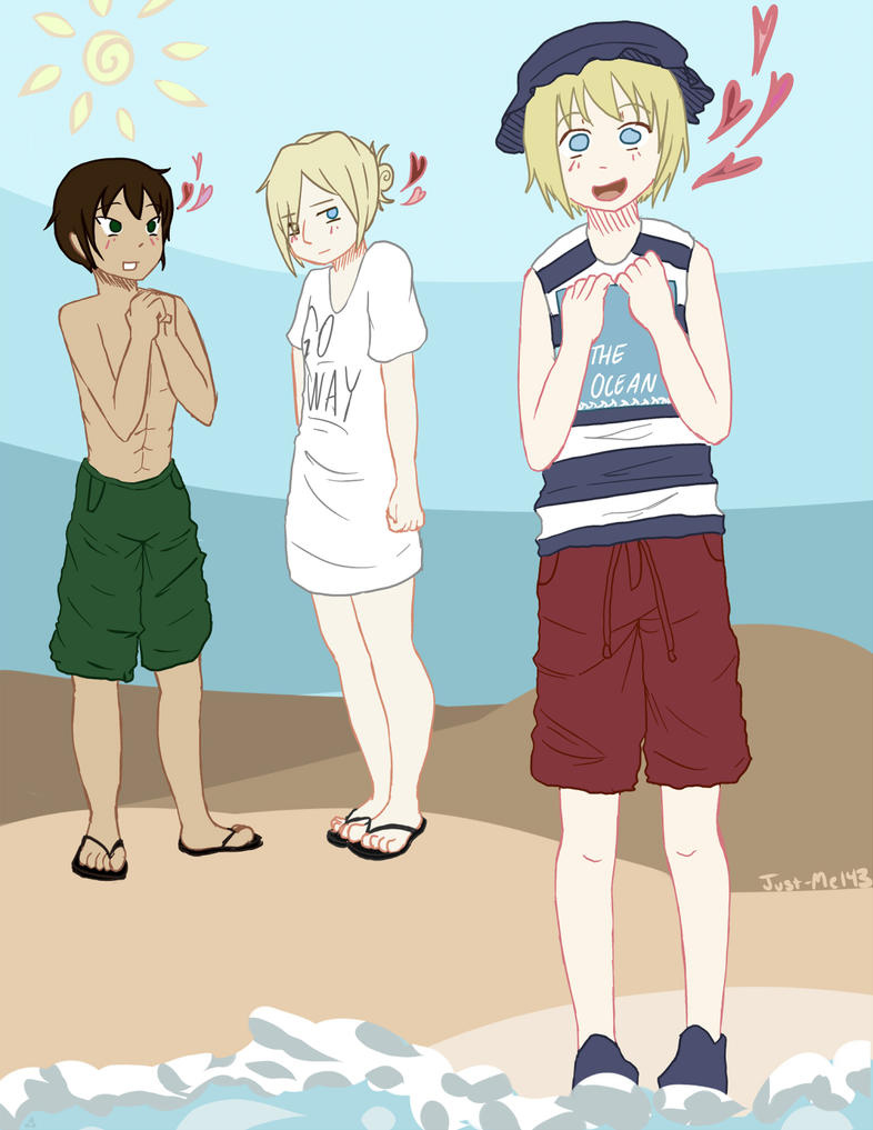 Armin, Eren, and Annie at the Beach! @U@ by Just-Me143 on ... Eren And Annie Fanfiction