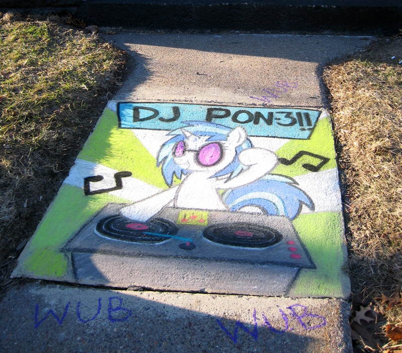 Vinyl Scratch in chalk by SSlug