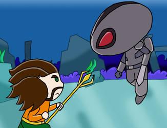Aquaman vs Black manta by Conaria