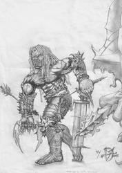 Uruk-Hai vs Elven Bowman by EvilLestat