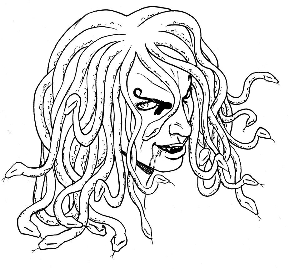 Testa di medusa by lacedemone on deviantart for Medusa da colorare