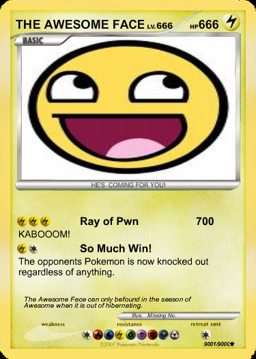 awesome face pokemon card by themaster852 on deviantart