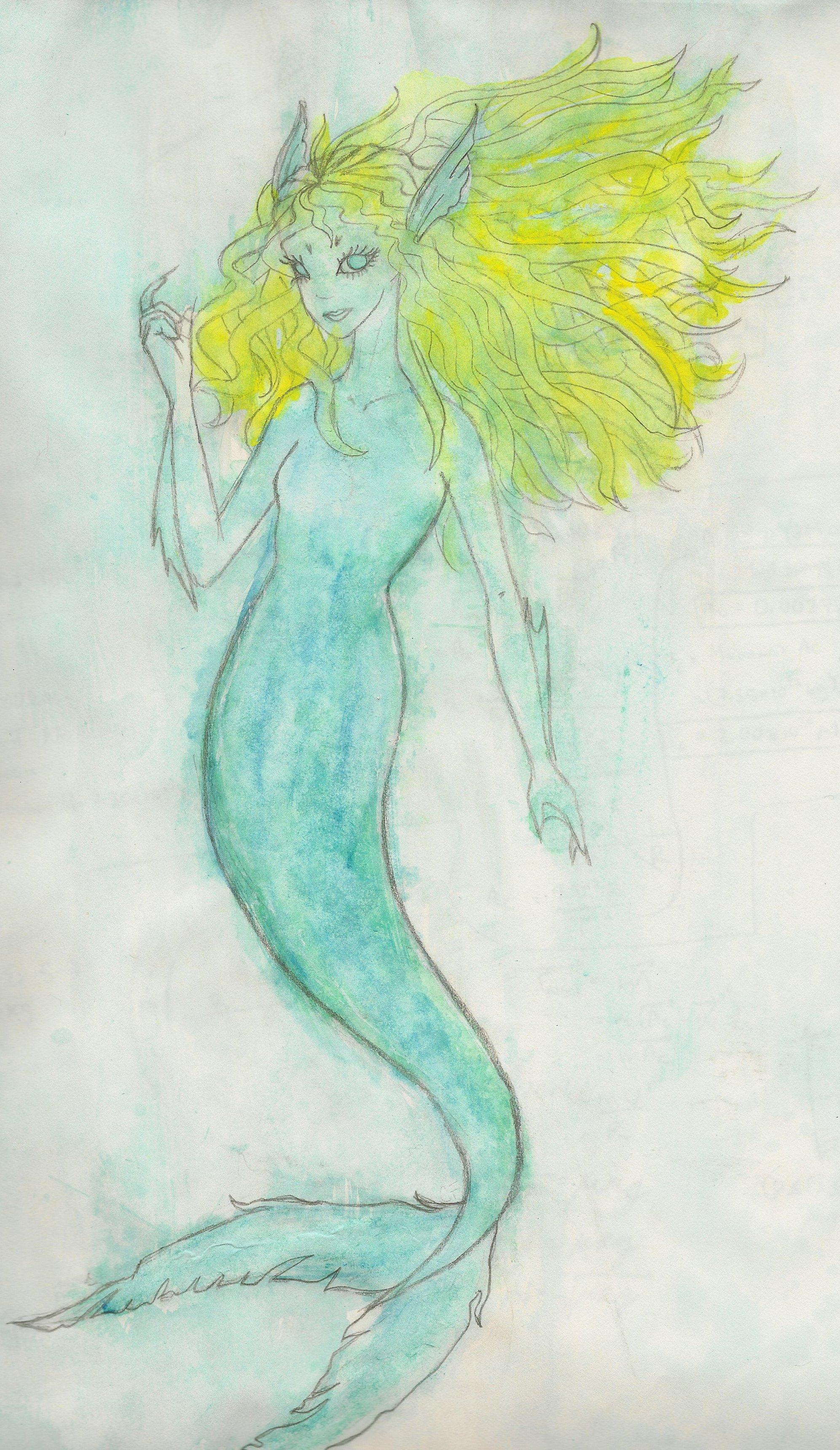 Mermaid - Water colors :D by krl2432