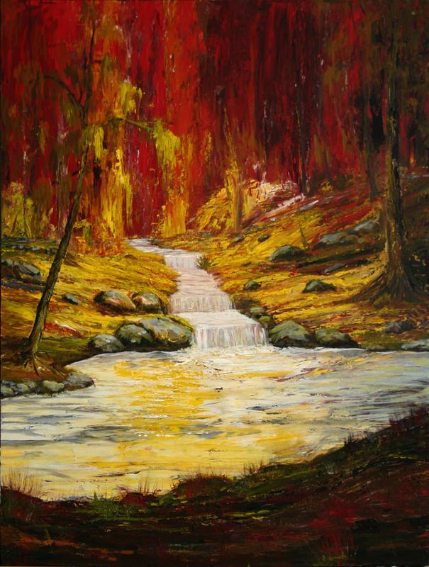 Stream in the red forest by Suzu2