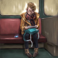 Subway Sketch - Autumn Girl by PinkBunnyLilli