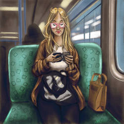 Subway Sketch - Blonde girl with bags