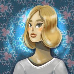 Blonde girl on wallpaper
