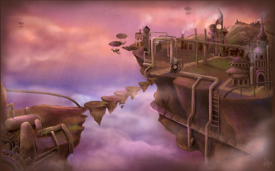 Floating Steampunk City by Jullith on DeviantArt Floating City Steampunk