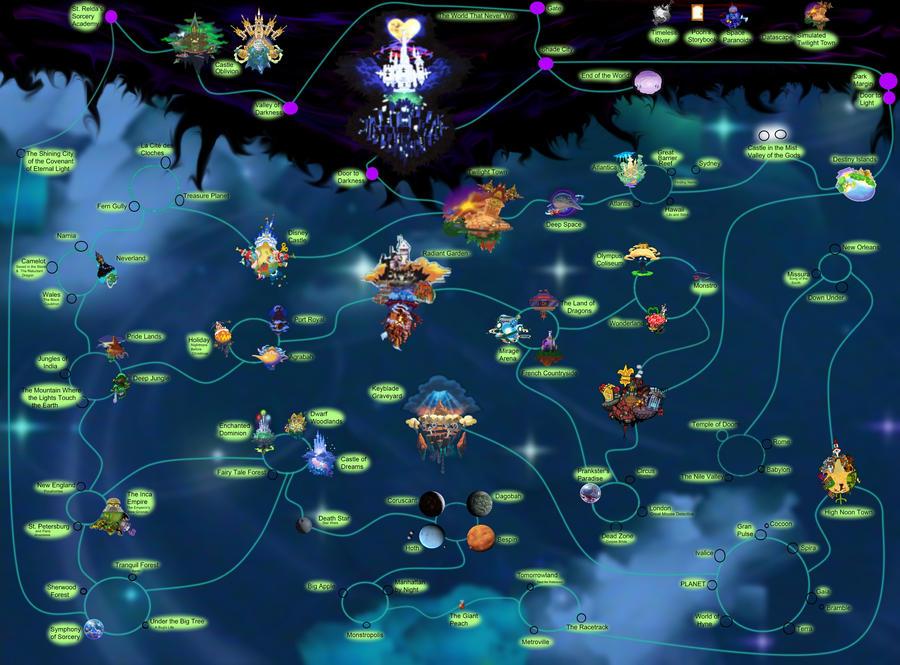 Kingdom Hearts 1 World Map Kingdom hearts world map WIP 2 by Pepper Jak on DeviantArt