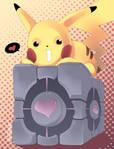 Pikachu and the Companion Cube