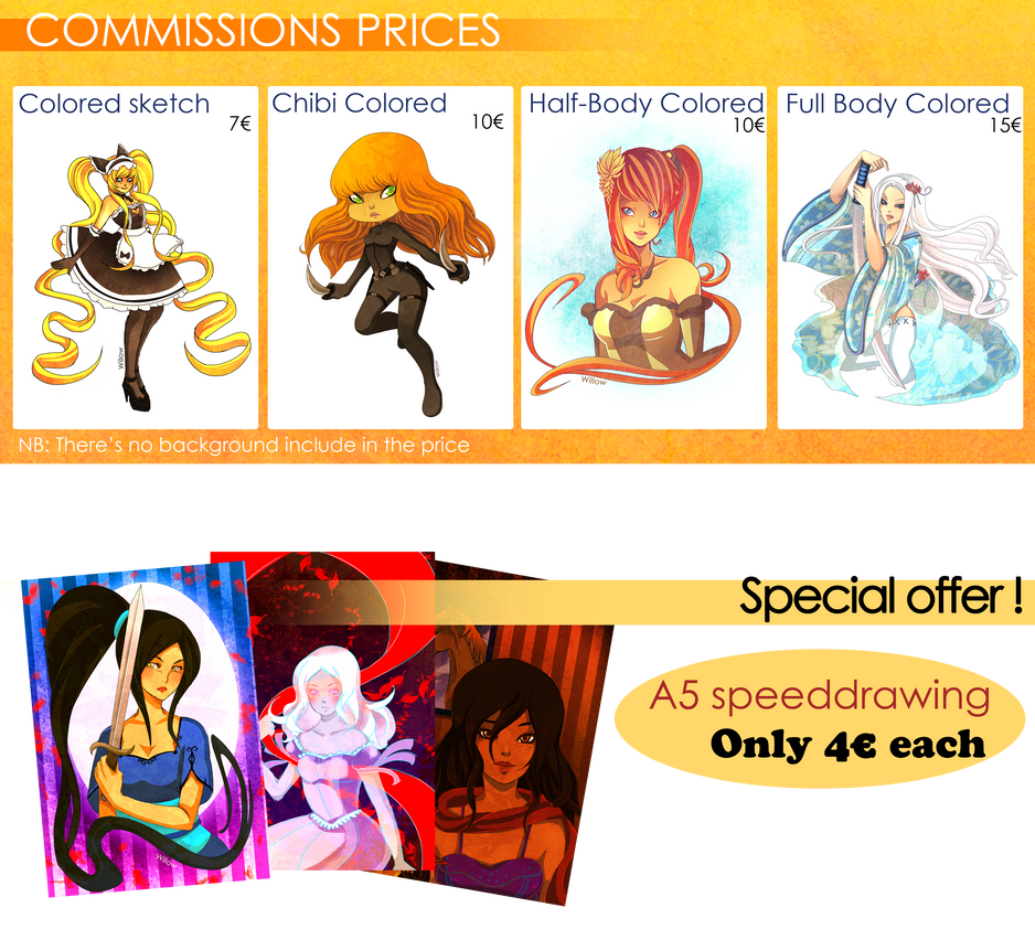 Commissions Prices by Willow-San