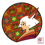 A white-haired Kitsune