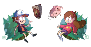 Dipper and Mabel by Willow-San