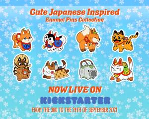 Japan inspired Enamel Pins designs