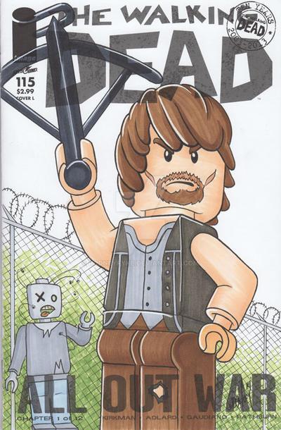 Lego-Daryl-from-Walking-Dead-Sketch-Cover by rodneyfyke
