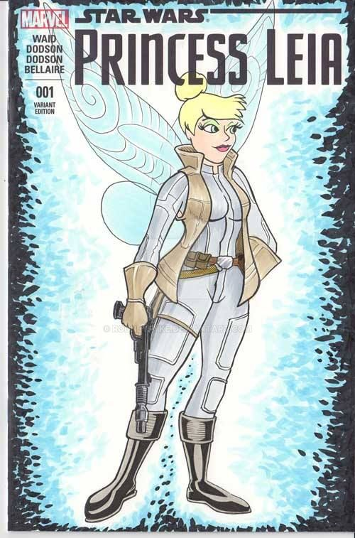 Tinker Bell as Leia sketch cover by rodneyfyke