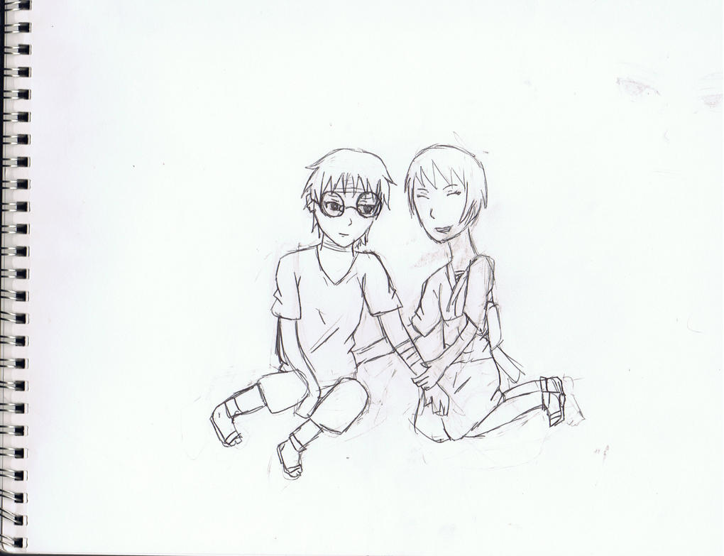 Sketch- Child Kabuto and Shizune by *AmericanNordicTard1 on deviantART
